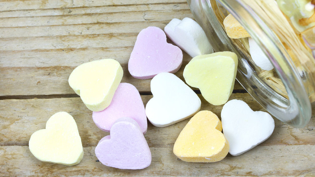 Large candy heart jar