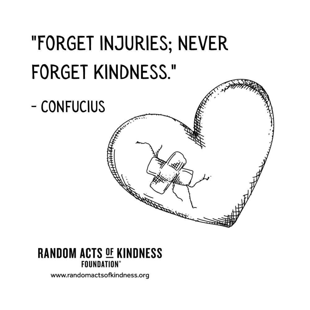 Quotation: Forget injuries; never forget kindness. Confucius