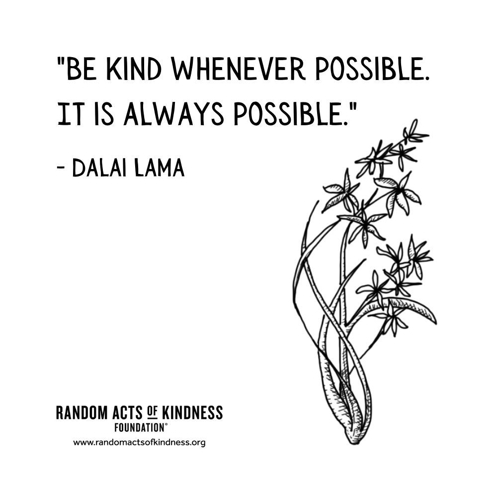 Quotation: Be kind whenever possible. It is always possible Dalai Lama