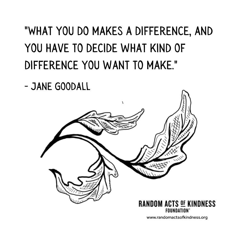 Quotation: What you do makes a difference, and you have to decide what kind of difference you want to make Jane Goodall