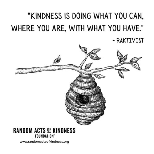 Kindness is doing what you can, where you are, with what you have. RAKtivist