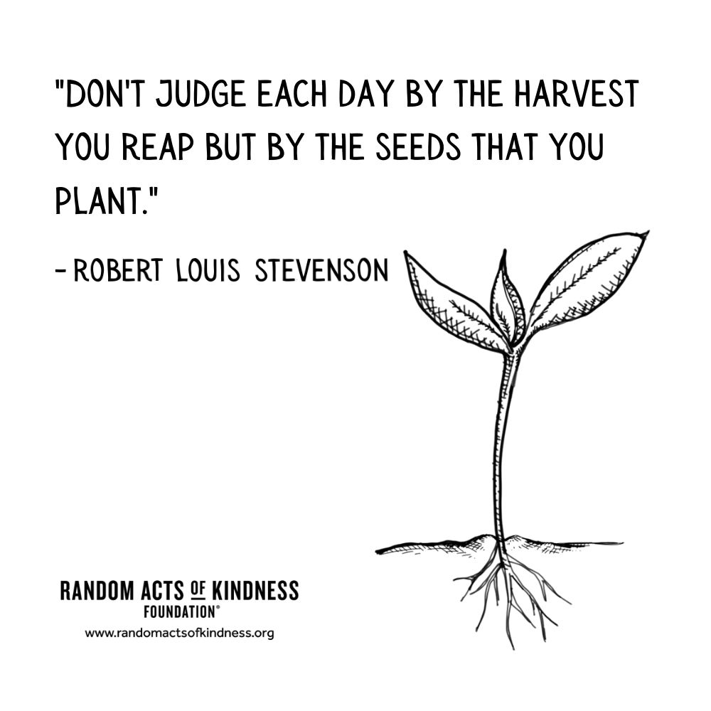 Quotation: Don't judge each day by the harvest you reap but by the seeds that you plant. Robert Louis Stevenson