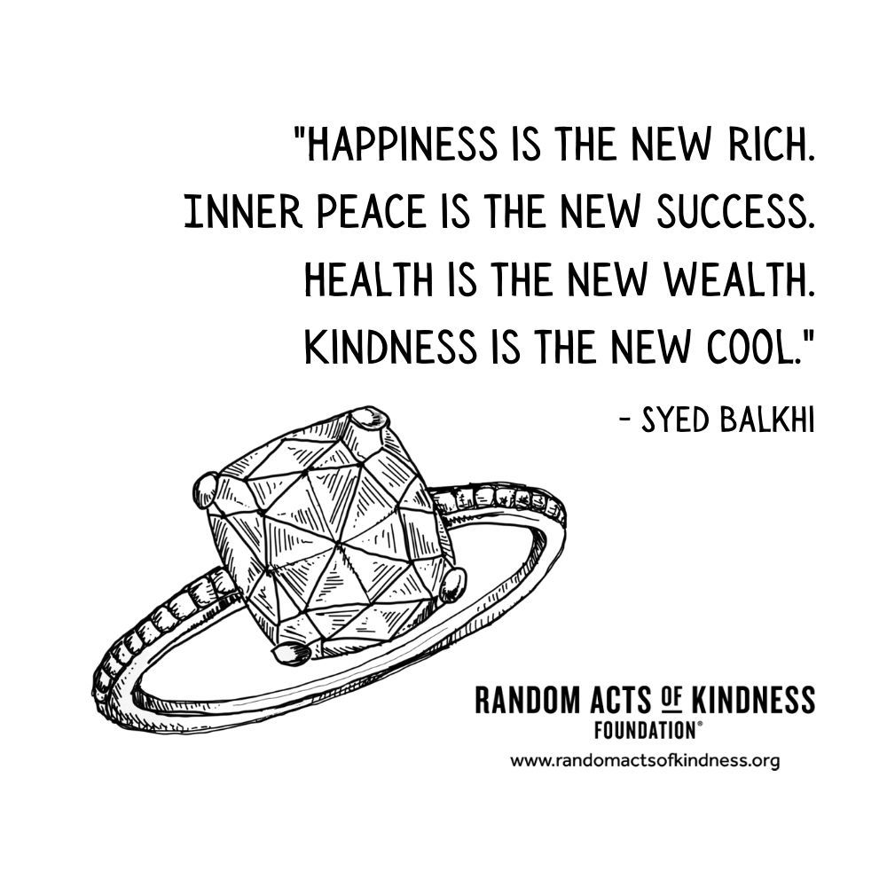 Quotation: Happiness is the new rich. Inner peace is the new success. Health is the new wealth. Kindness is the new cool. Syed Balkhi